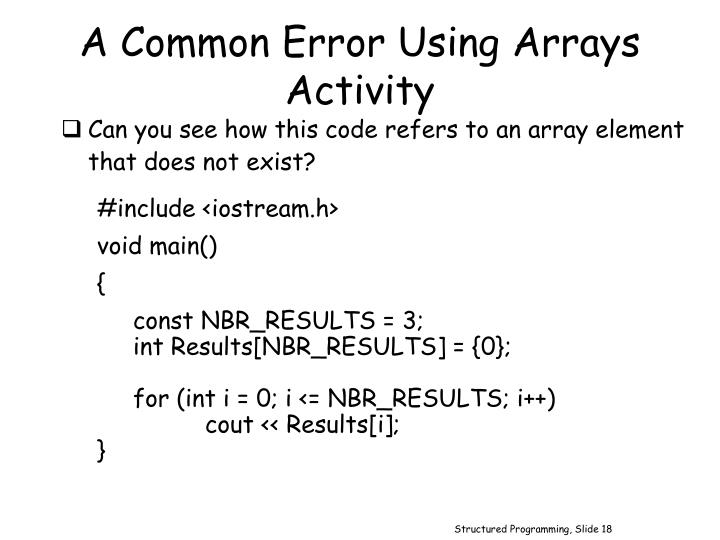 A Common Error Using Arrays Activity