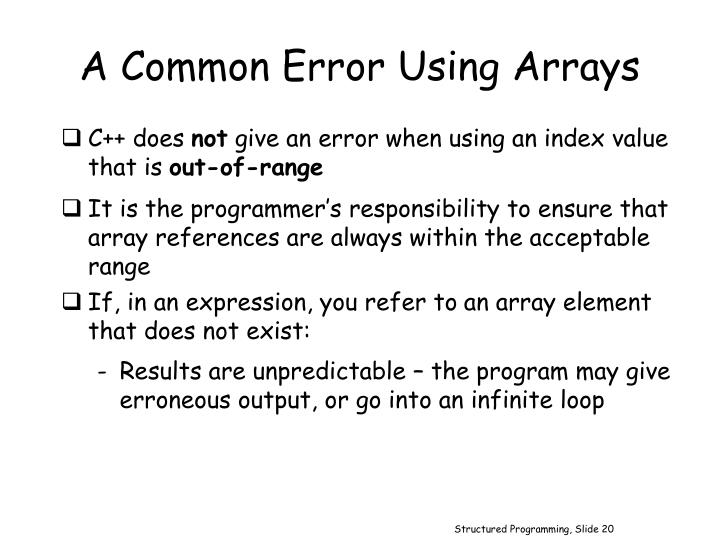 A Common Error Using Arrays
