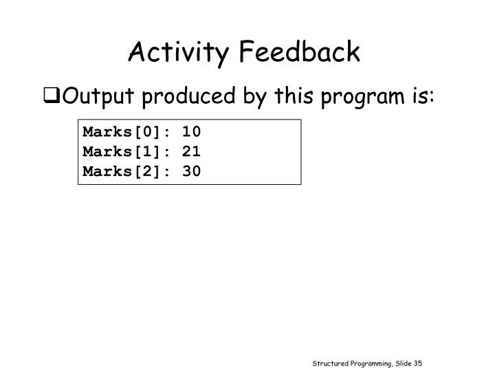 Activity Feedback