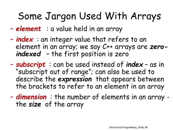 Some Jargon Used With Arrays