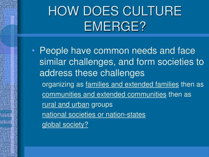 HOW DOES CULTURE EMERGE?