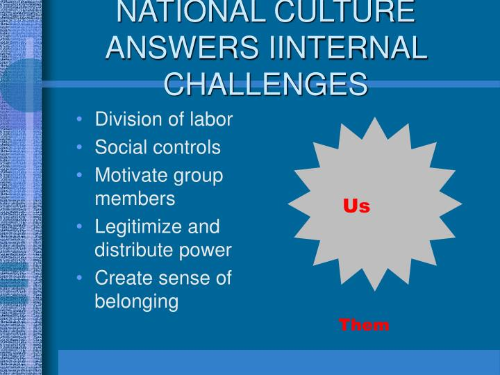 NATIONAL CULTURE ANSWERS IINTERNAL CHALLENGES