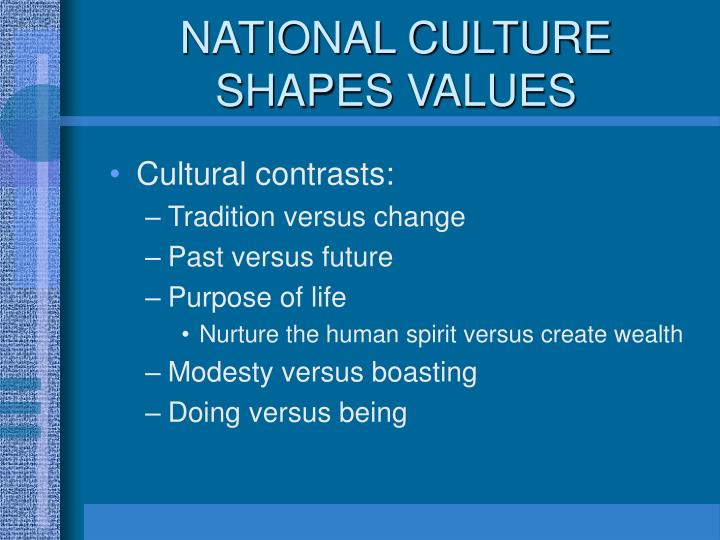 NATIONAL CULTURE SHAPES VALUES