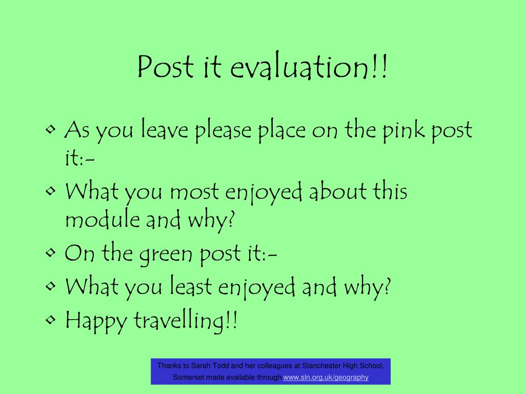 Post it evaluation!!
