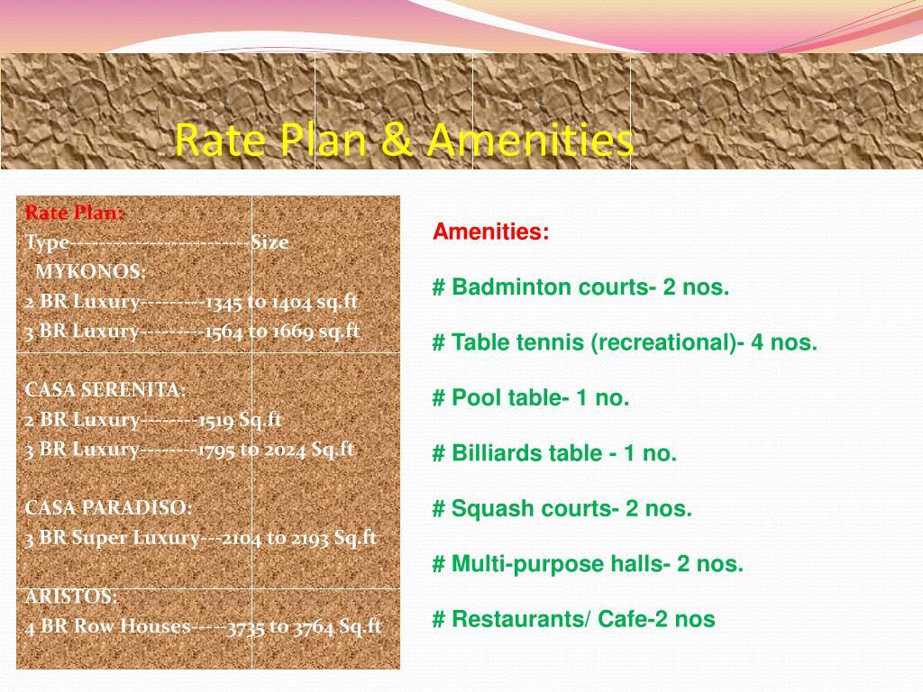 Rate Plan & Amenities