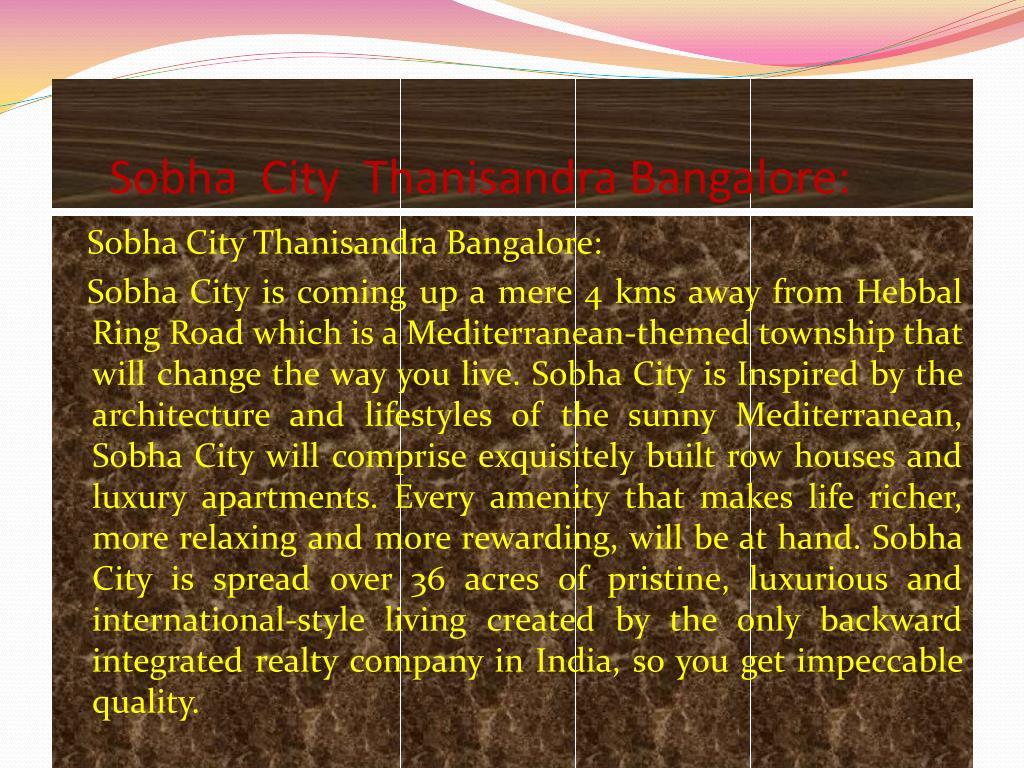 Sobha  City  Thanisandra Bangalore: