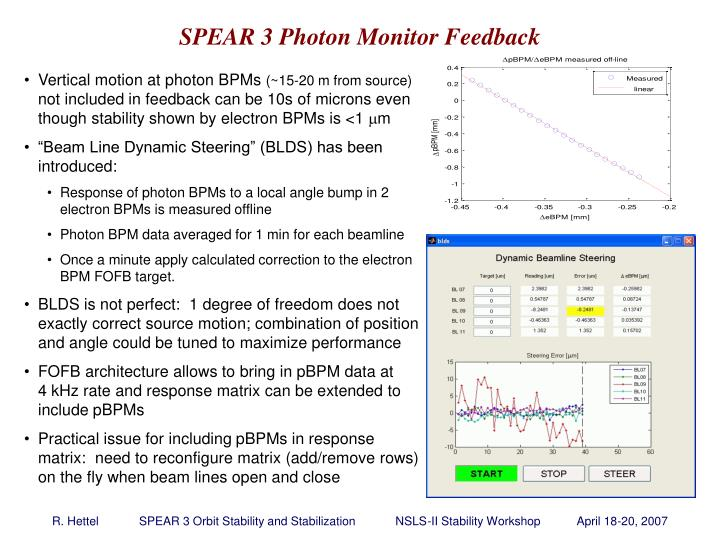SPEAR 3 Photon Monitor Feedback