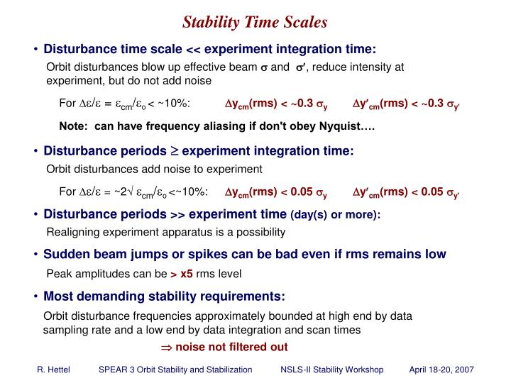 Stability Time Scales