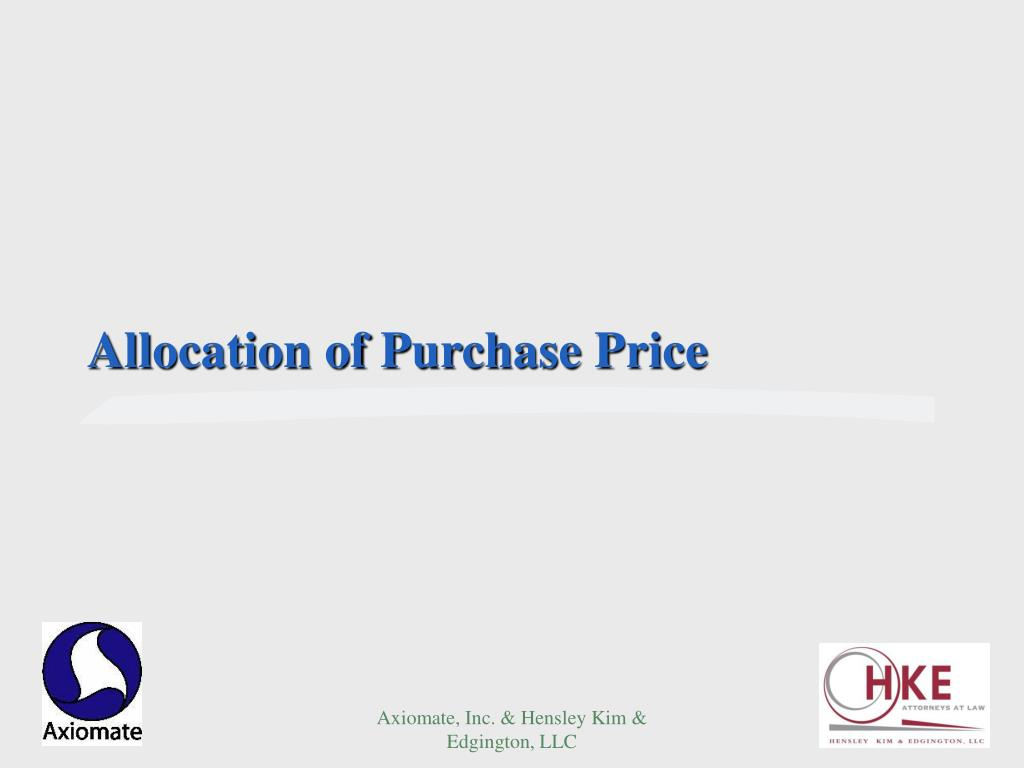 Allocation of Purchase Price