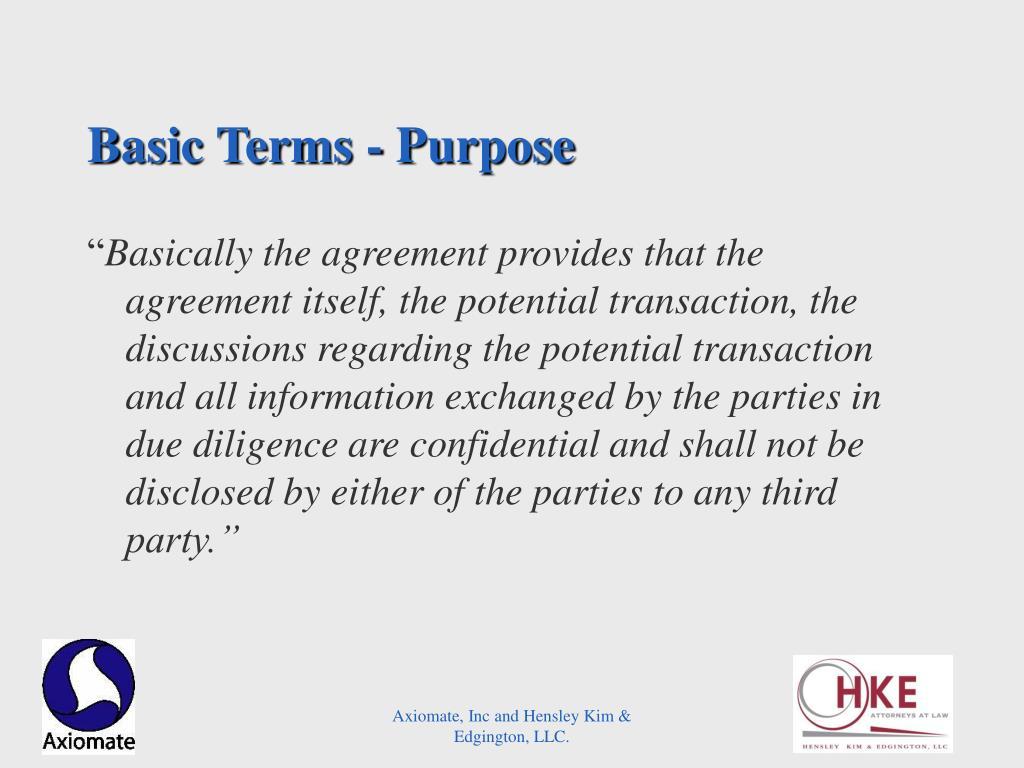Basic Terms - Purpose