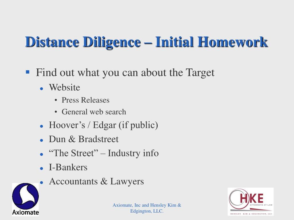 Distance Diligence – Initial Homework