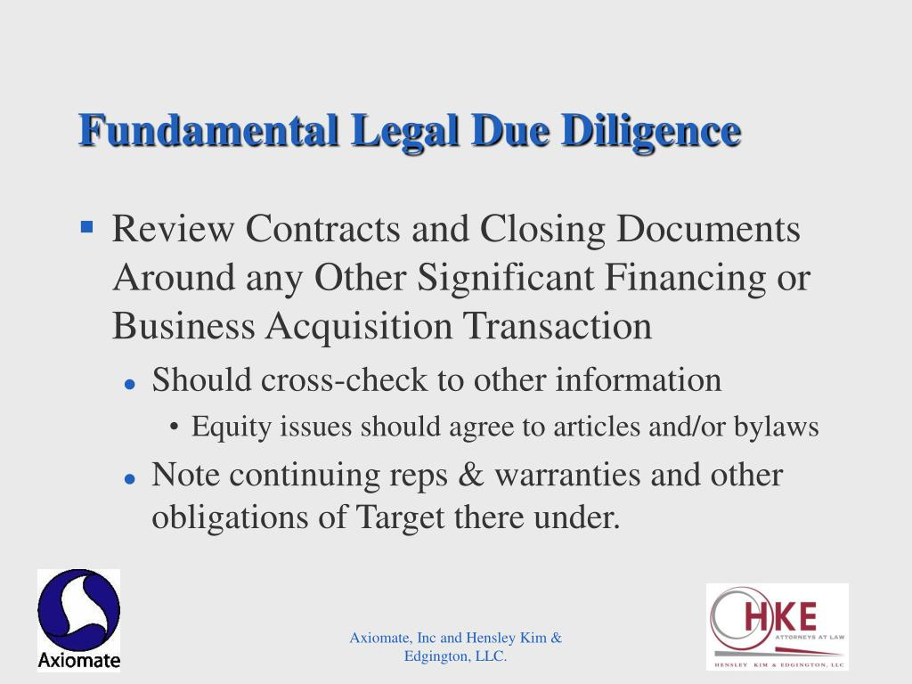 Fundamental Legal Due Diligence