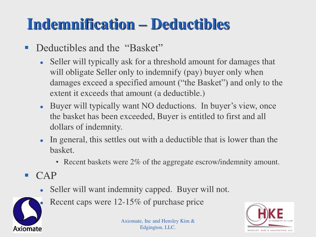 Indemnification – Deductibles
