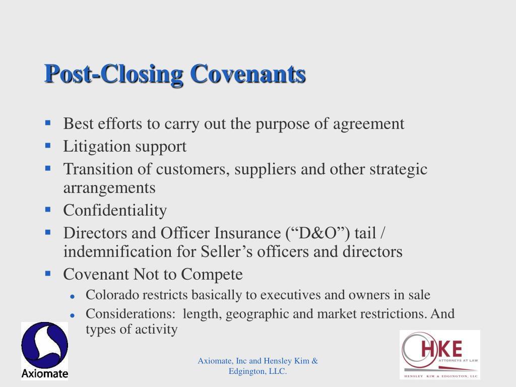 Post-Closing Covenants