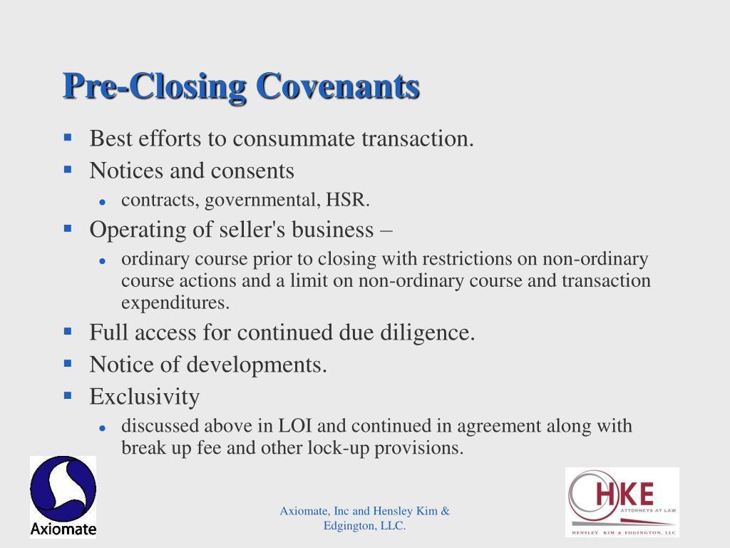 Pre-Closing Covenants
