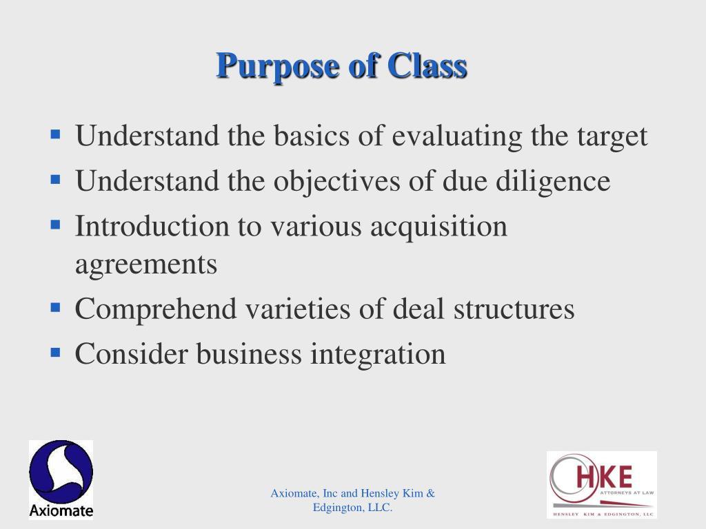 Purpose of Class