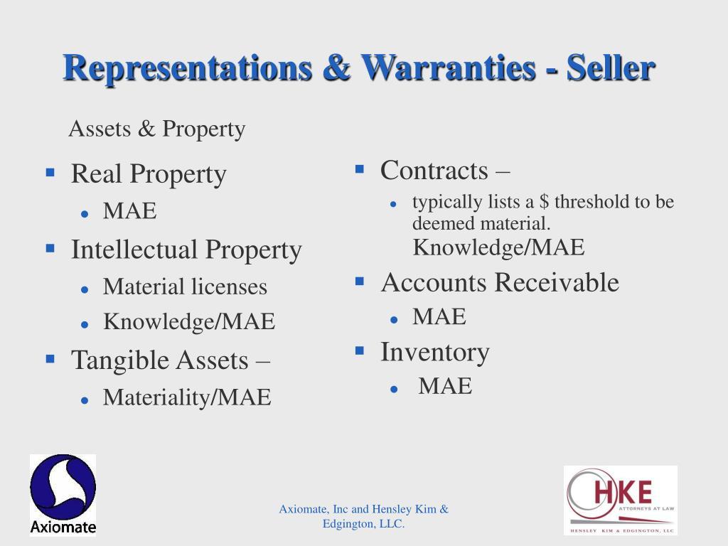 Representations & Warranties - Seller