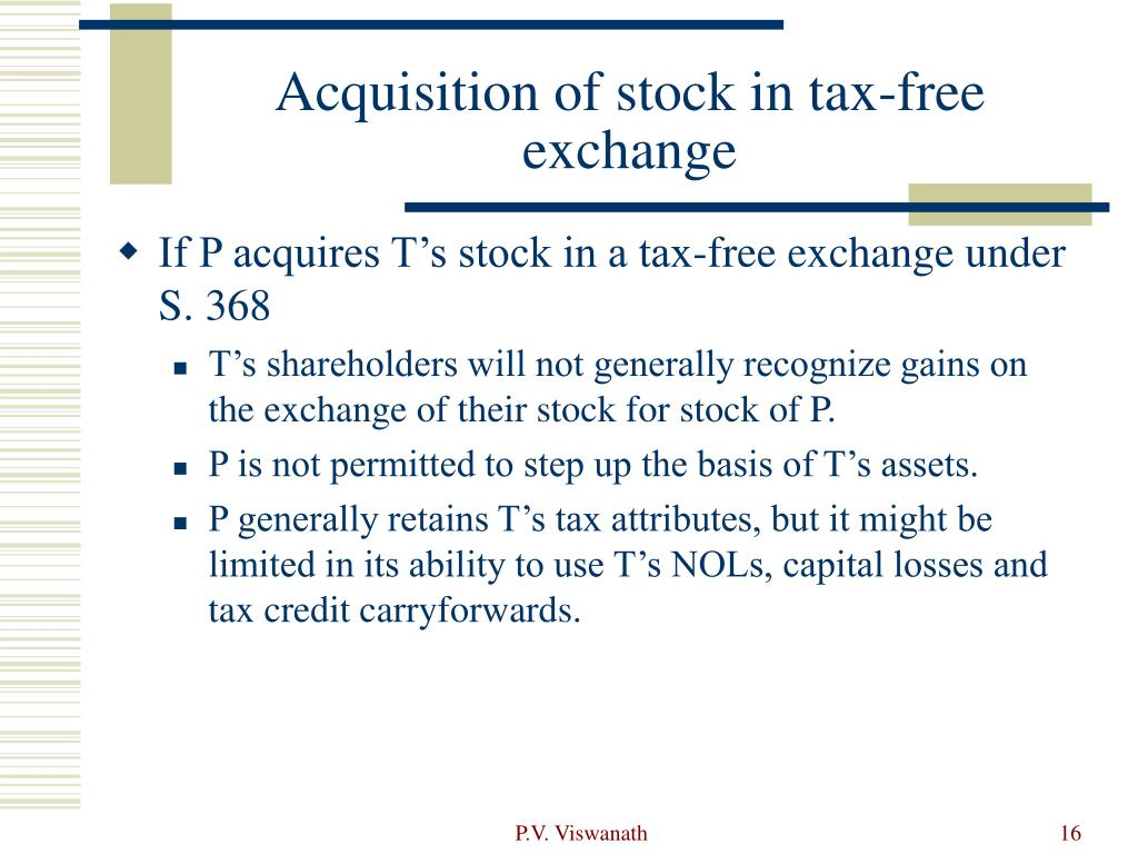Acquisition of stock in tax-free exchange