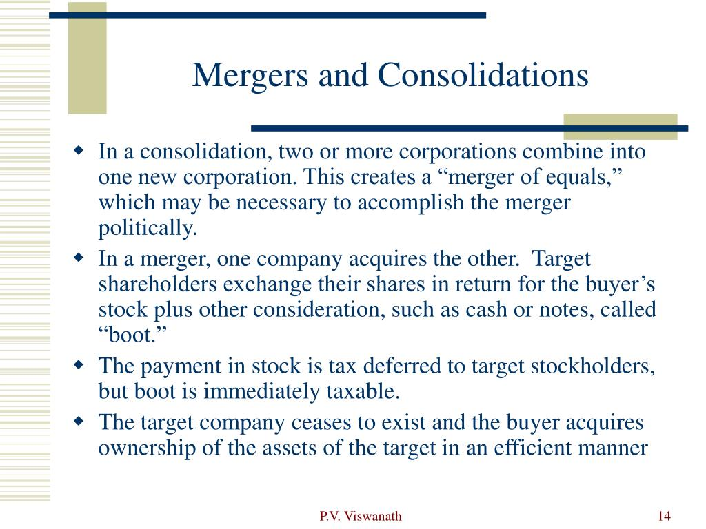Mergers and Consolidations