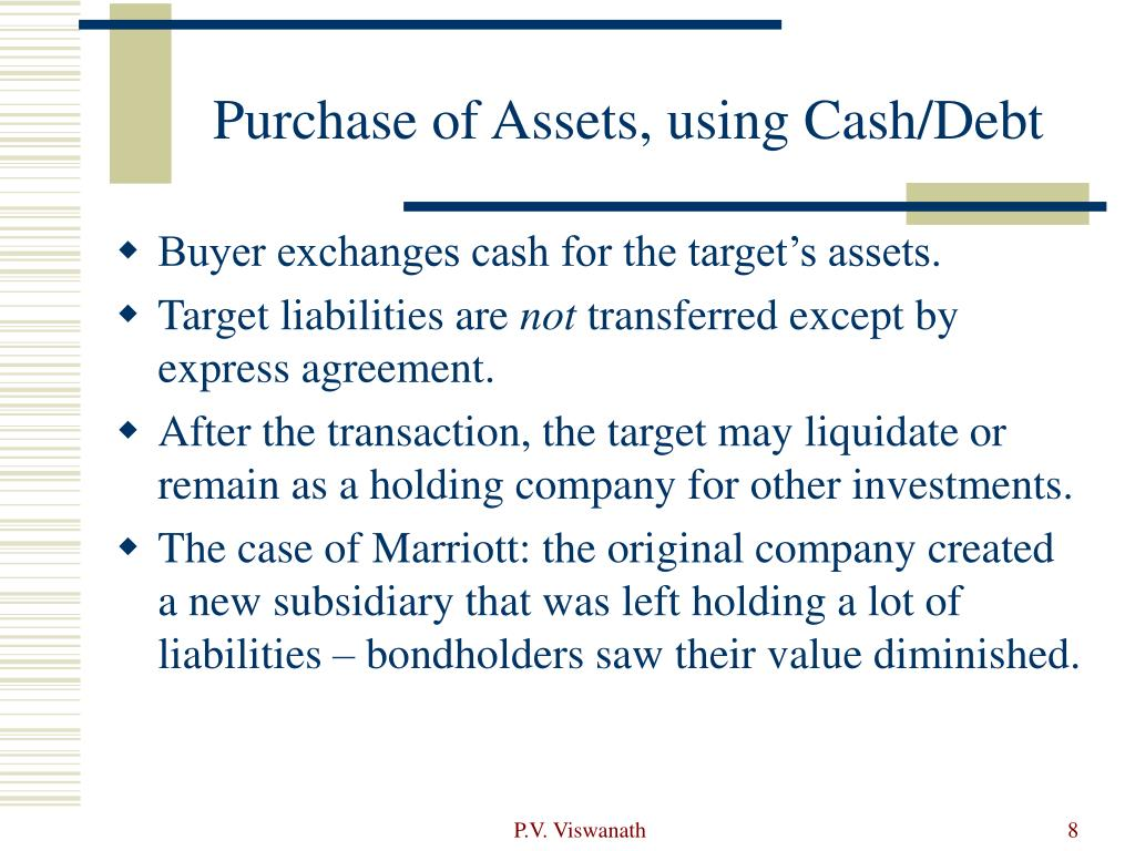 Purchase of Assets, using Cash/Debt