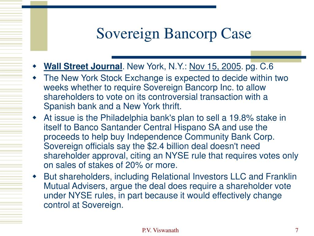 Sovereign Bancorp Case