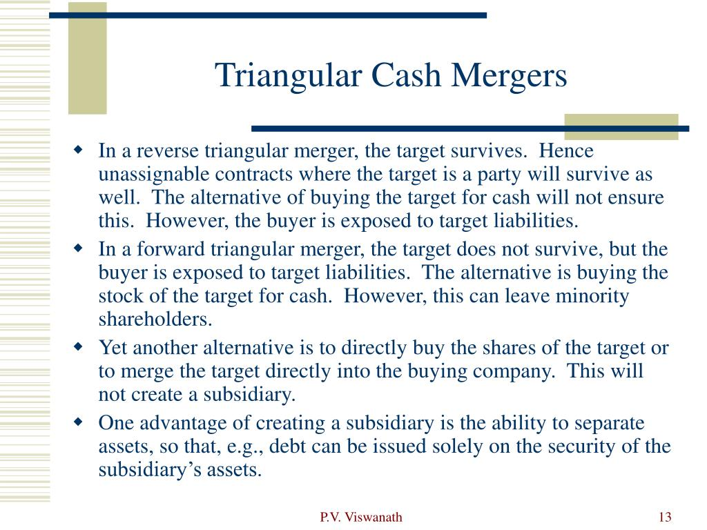 Triangular Cash Mergers