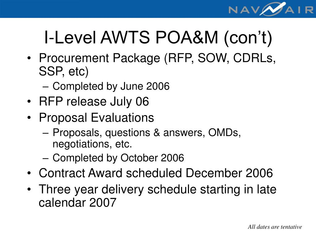 I-Level AWTS POA&M (con't)