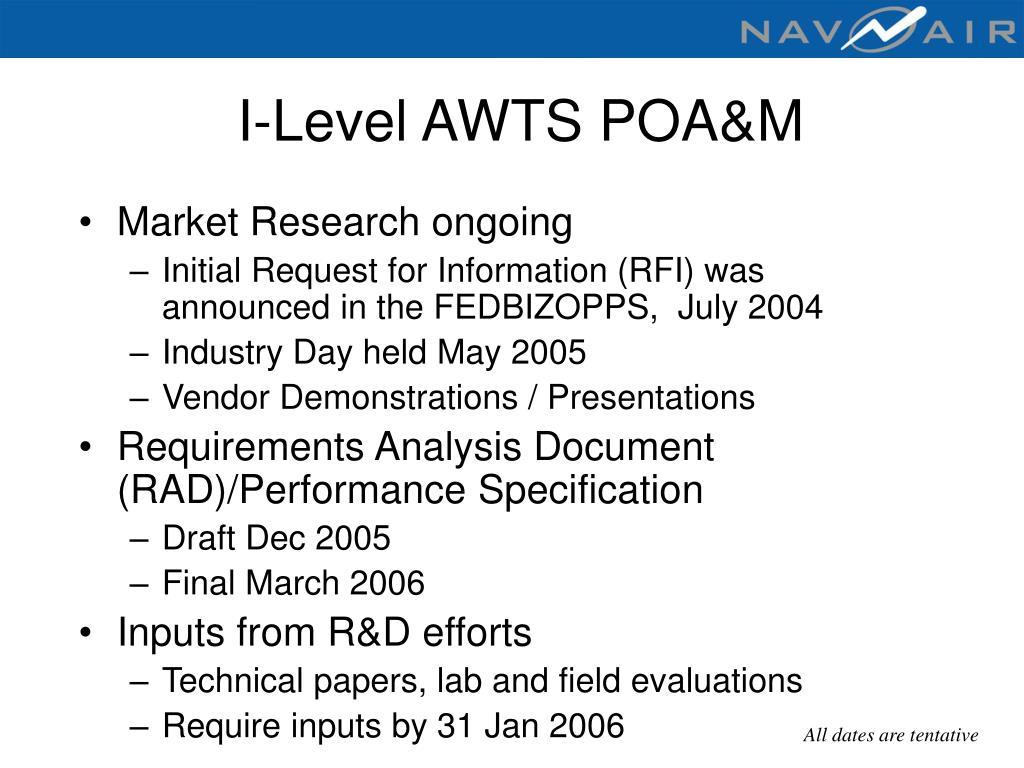 I-Level AWTS POA&M