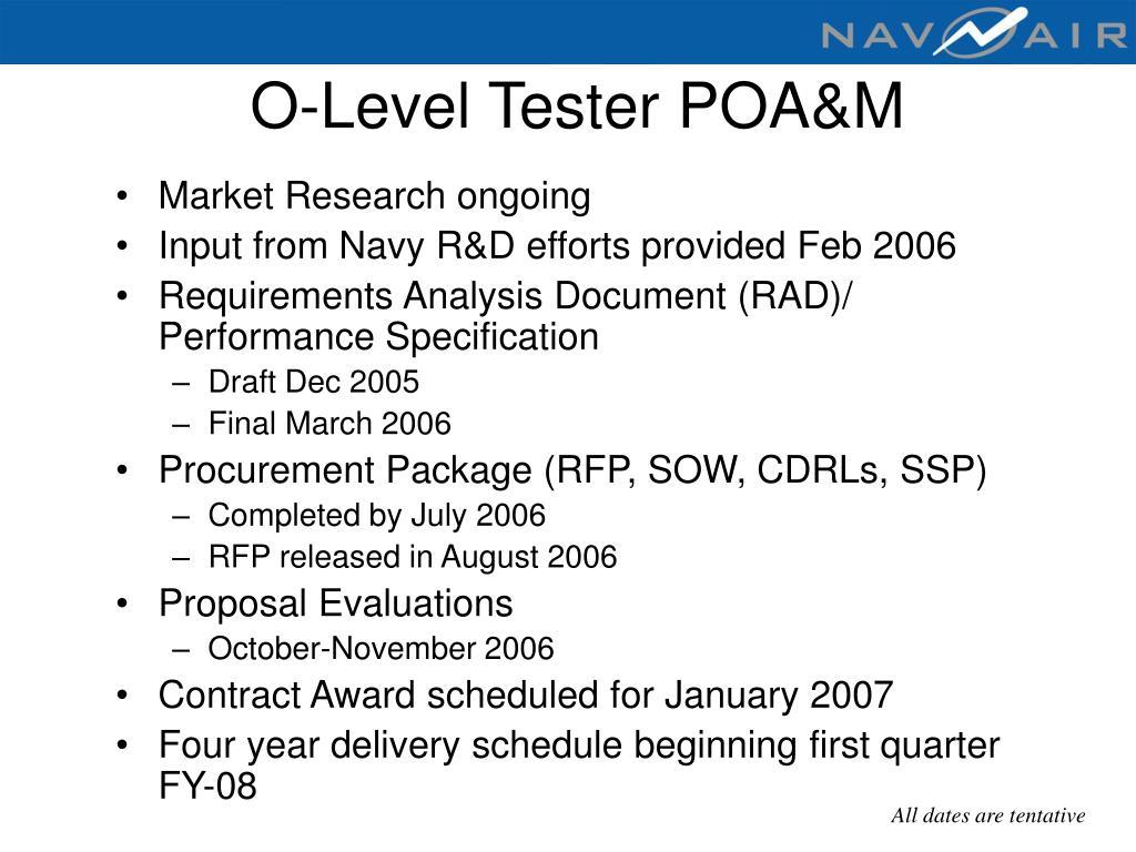 O-Level Tester POA&M