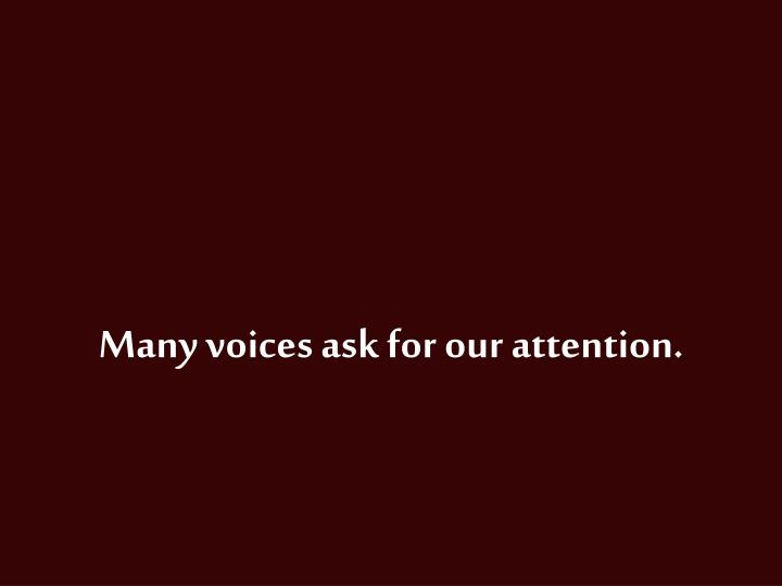 Many voices ask for our attention.