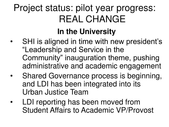 Project status: pilot year progress: