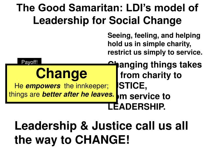 The Good Samaritan: LDI's model of Leadership for Social Change