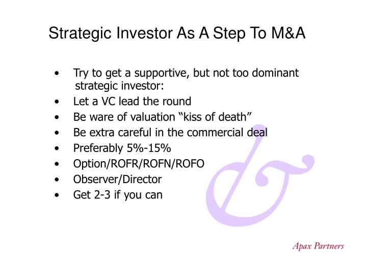 Strategic Investor As A Step To M&A
