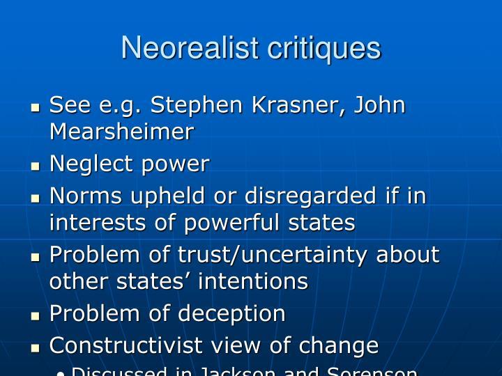 Neorealist critiques