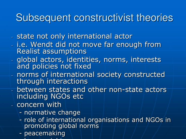 Subsequent constructivist theories