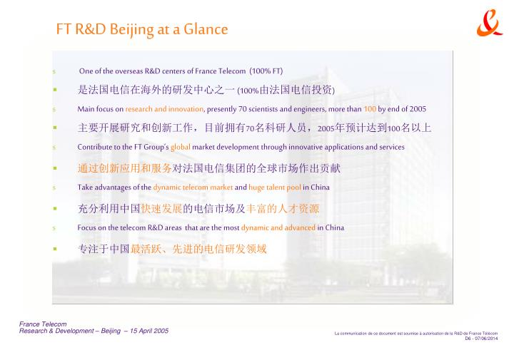 FT R&D Beijing at a Glance