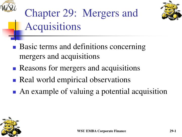 Chapter 29 mergers and acquisitions