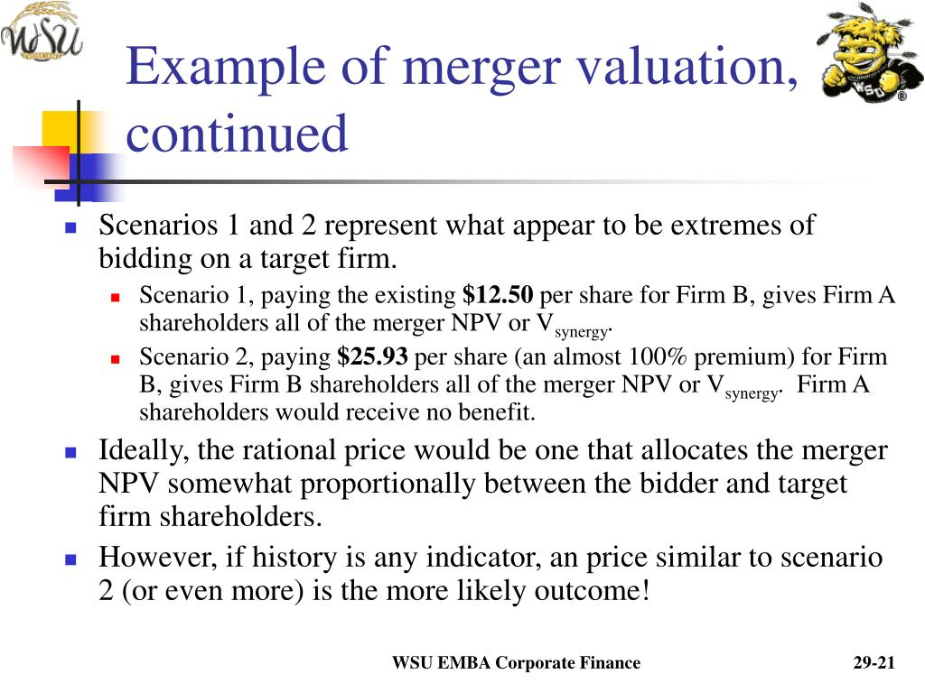 Example of merger valuation, continued