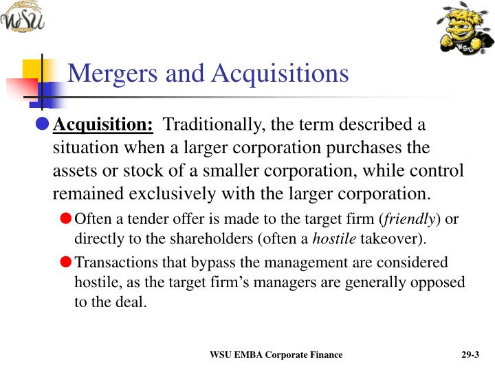 Mergers and acquisitions3
