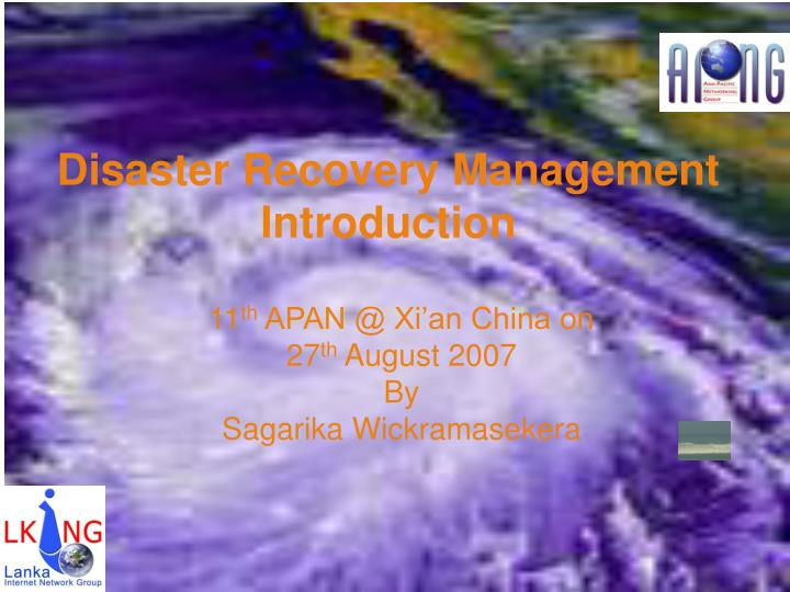 Disaster recovery management introduction
