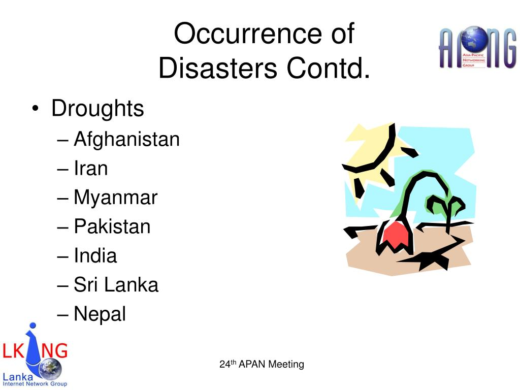 Occurrence of Disasters Contd.