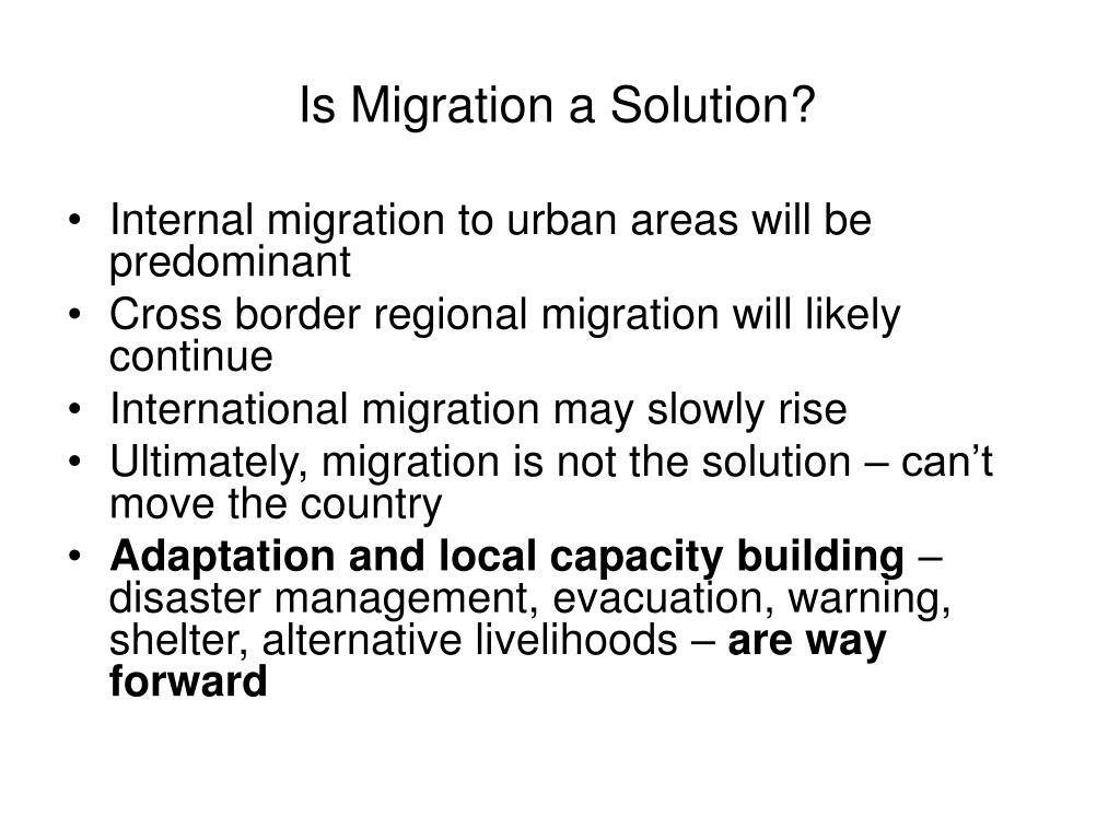Is Migration a Solution?