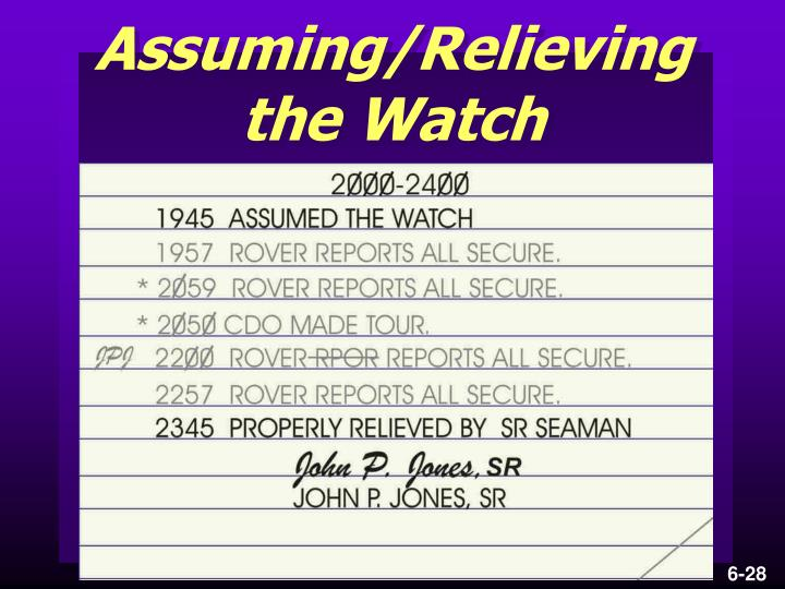 Assuming/Relieving the Watch