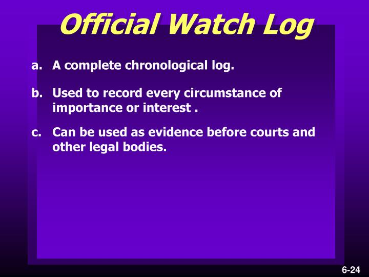 Official Watch Log