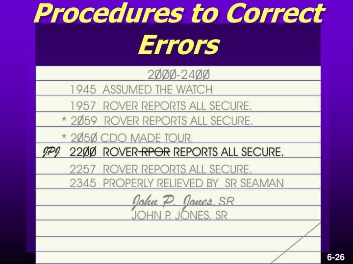 Procedures to Correct Errors