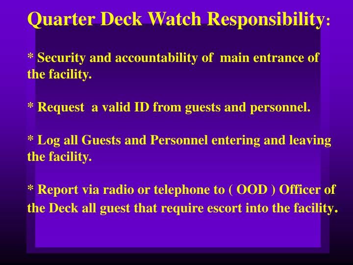 Quarter Deck Watch Responsibility