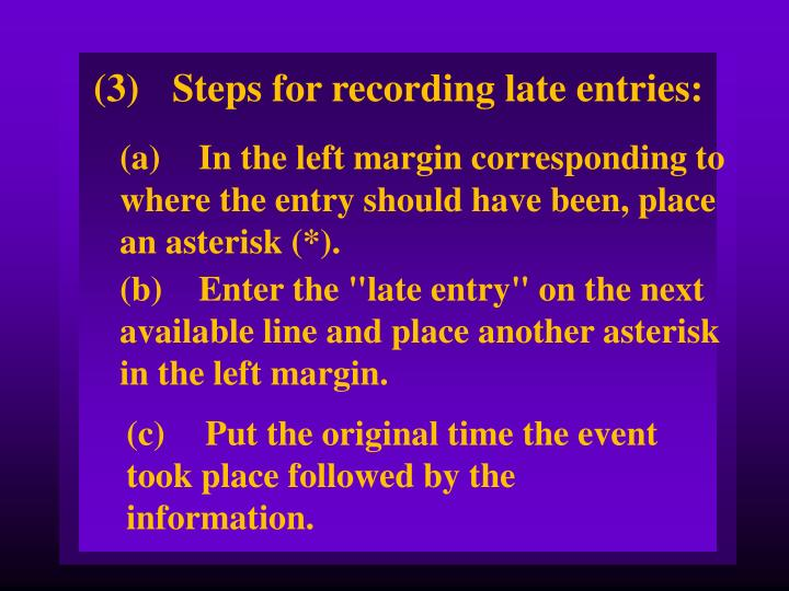 (3)Steps for recording late entries: