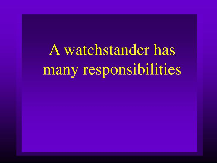 A watchstander has many responsibilities