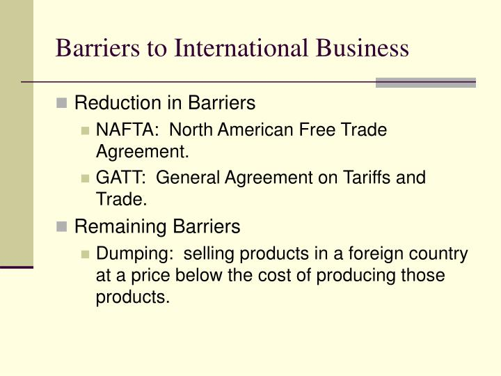 Barriers to International Business