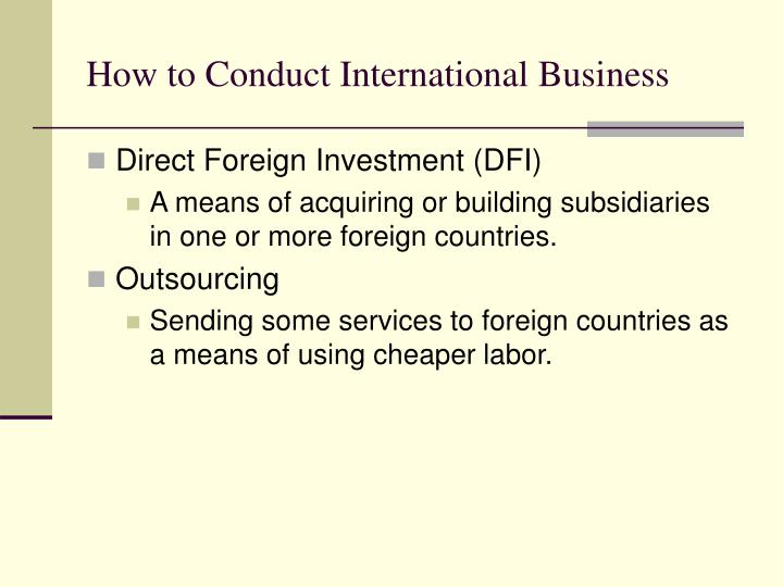 How to Conduct International Business